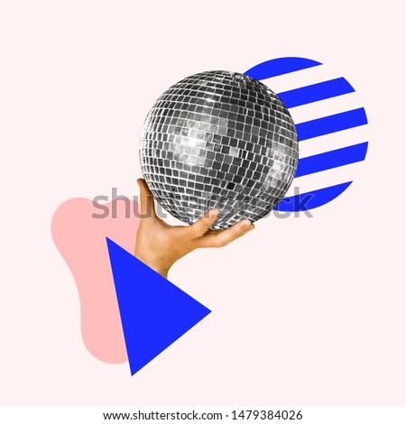 Let's have a party. Human hand holding disco ball, geometric background. Negative space to insert your text. Modern design. Contemporary art collage. Concept of music, festival, dance. #1479384026