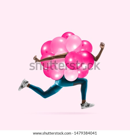 Run like you are weightless. Female body as pink balloons on coral background. Negative space to insert your text. Modern design. Contemporary art collage. Concept of movement, sport. #1479384041
