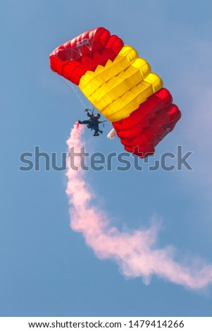 MOTRIL, GRANADA, SPAIN-JUN 11: Parachutist of the PAPEA taking part in an exhibition on the 12th international airshow of Motril on Jun 11, 2017, in Motril, Granada, Spain #1479414266