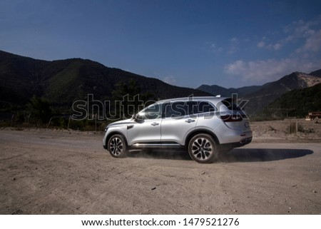 Istanbul/Turkey - August 1 2019 : Renault Koleos is a compact crossover SUV, uses the Renault-Nissan Common Module Family (CMF-CD) modular platform. #1479521276