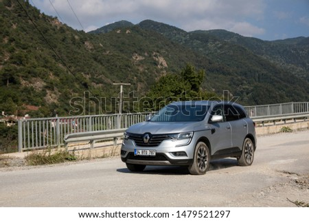 Istanbul/Turkey - August 1 2019 : Renault Koleos is a compact crossover SUV, uses the Renault-Nissan Common Module Family (CMF-CD) modular platform. #1479521297