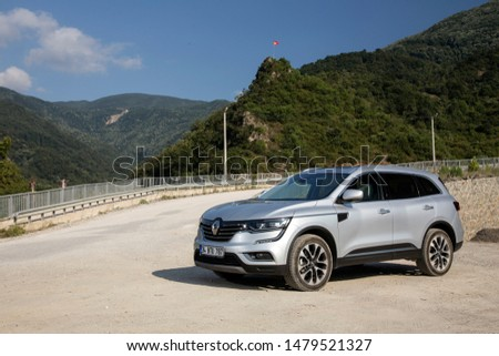 Istanbul/Turkey - August 1 2019 : Renault Koleos is a compact crossover SUV, uses the Renault-Nissan Common Module Family (CMF-CD) modular platform. #1479521327