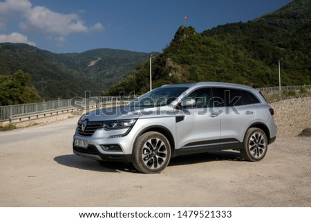 Istanbul/Turkey - August 1 2019 : Renault Koleos is a compact crossover SUV, uses the Renault-Nissan Common Module Family (CMF-CD) modular platform. #1479521333