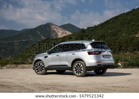 Istanbul/Turkey - August 1 2019 : Renault Koleos is a compact crossover SUV, uses the Renault-Nissan Common Module Family (CMF-CD) modular platform. #1479521342