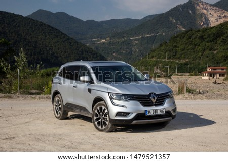 Istanbul/Turkey - August 1 2019 : Renault Koleos is a compact crossover SUV, uses the Renault-Nissan Common Module Family (CMF-CD) modular platform. #1479521357