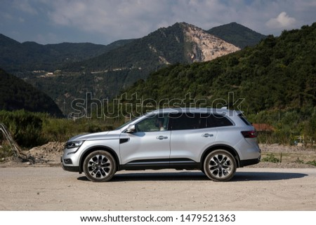 Istanbul/Turkey - August 1 2019 : Renault Koleos is a compact crossover SUV, uses the Renault-Nissan Common Module Family (CMF-CD) modular platform. #1479521363