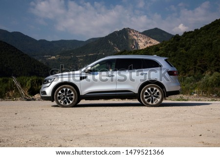 Istanbul/Turkey - August 1 2019 : Renault Koleos is a compact crossover SUV, uses the Renault-Nissan Common Module Family (CMF-CD) modular platform. #1479521366