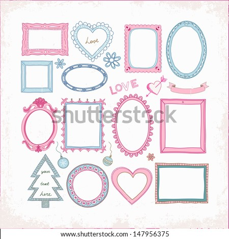 Set of doodle frames and other elements on a grunge background