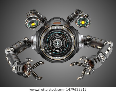 sci fi factory robot or futuristic machine designed for building robotic components or cars. Isolated on grey background. 3D illustration #1479633512