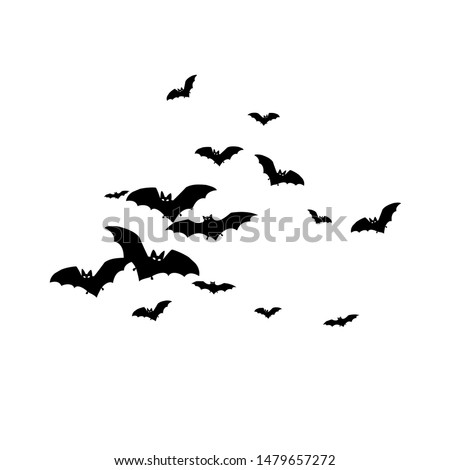 Horrific black bats swarm isolated on white vector Halloween background. Flying fox night creatures illustration. Silhouettes of flying bats traditional Halloween symbols on white. #1479657272