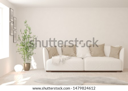 Stylish room in white color with sofa. Scandinavian interior design. 3D illustration #1479824612