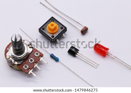 electronics component , resistor, capacitor, switch, variable resistor and connector.on white background #1479846275