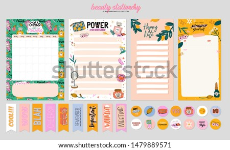 Collection of weekly or daily planner, note paper, to do list, stickers templates decorated by cute beauty cosmetic illustrations and trendy lettering. Trendy scheduler or organizer. Flat vector #1479889571