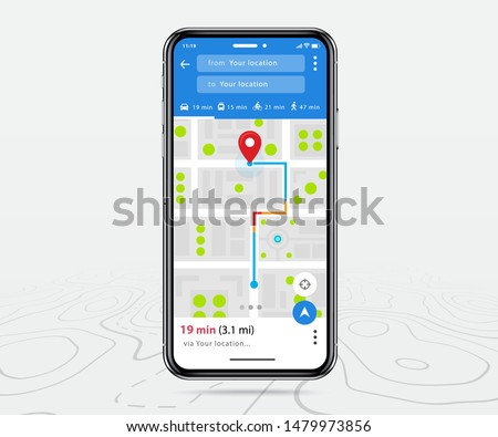 Map GPS, Smartphone map navigation application and red pinpoint on screen, App search map navigation, isolated on line maps background, Vector illustration #1479973856