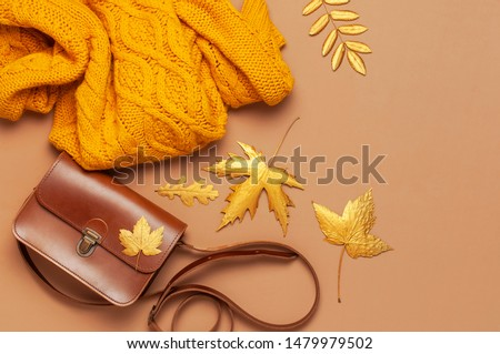 Brown leather women bag, orange knitted sweater, golden autumn leaf on brown background top view flat lay copy space. Fashionable women's accessories. Autumn Fashion Concept. Stylish Lady Clothes #1479979502