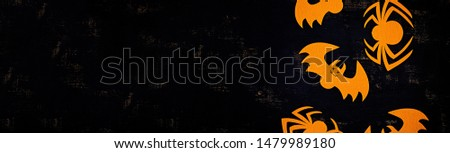 Halloween background with spider, bats. Halloween holiday background. #1479989180