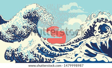 Illustration of stormy ocean with big waves, modern retro art design.