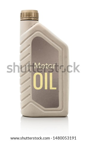 "Plastic Engine oil bottle with ""Motor Oil"" writting. With clipping path. Isolated on white background with shadow reflection. Cutout of bottle with oil on white bg. Closeup shot. Studio shot. Bitmap #1480053191"