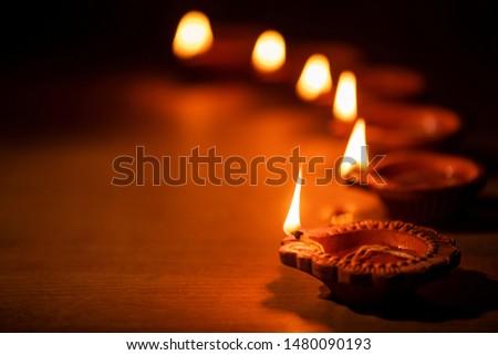 Diwali celebration with lights on Diwali day,
