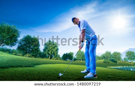 Professional golf player on a golf field #1480097219