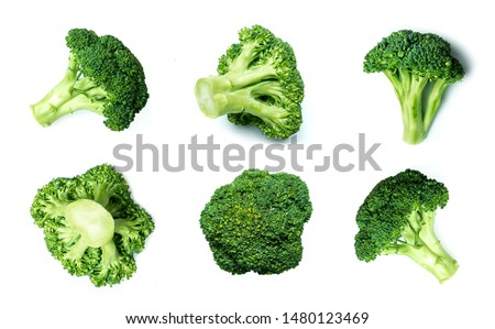 Raw broccoli pattern. Broccoli collection. Different sides of green fresh broccoli #1480123469