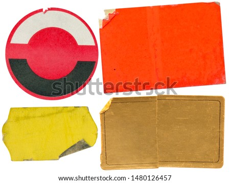 Set of grungy adhesive price stickers, price tags, with free copy space, isolated on white background #1480126457