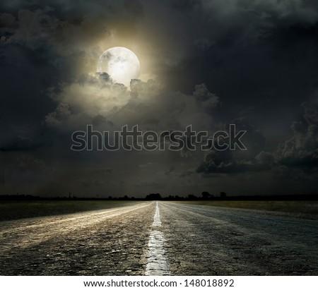 Dramatic sky over an asphalt road #148018892