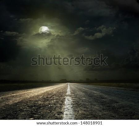 Dramatic sky over an asphalt road #148018901