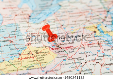 Red clerical needle on a map of USA, South West Virginia and the capital Charleston. Close up map of South West Virginia with red tack #1480241132