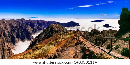 Road to the sky. Mirador Roque de los Muchachos - La palma, Canary islands. popular tourist attraction and place of biggest observatory in Europe Royalty-Free Stock Photo #1480301114