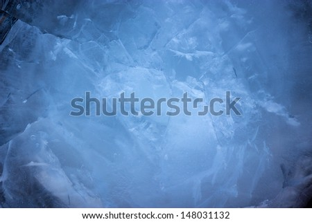 Blue background of cold ice.