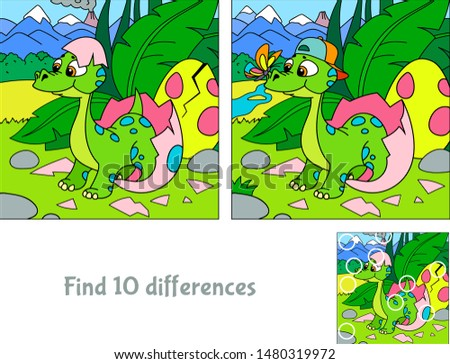 Baby dinosaur hatching. Hide 10 differences. Educational game for children. Cartoon vector illustration. Royalty-Free Stock Photo #1480319972
