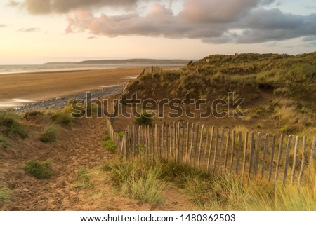 Northam Burrows and Westward Ho! beach in Devon  Royalty-Free Stock Photo #1480362503