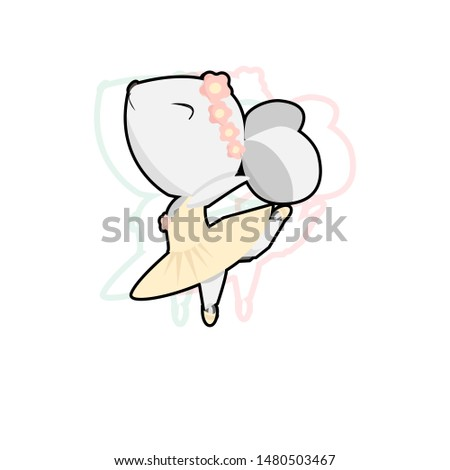Cute mouse ballerina dancing on a white background. illustration, for Souvenirs, postcards, notebooks, magnets and other. Ready print for your design.Hand-drawn. In a cartoon with glitch effect,Vector #1480503467