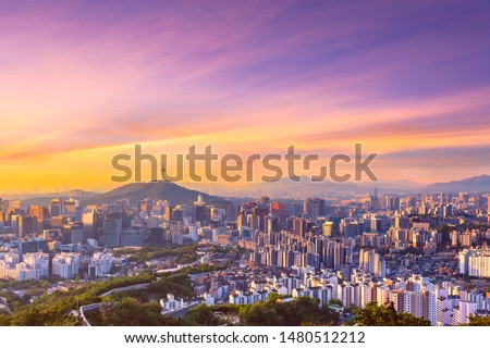 Sunrise of Seoul Downtown cityscape . Aerial view of Nansan Seoul Tower and lotte tower. Viewpoint from Inwangsan mountain best landmark of Seoul , South Korea #1480512212