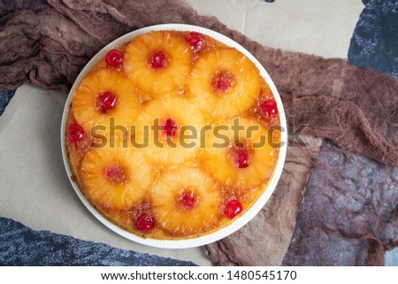 Flat lay of pineapple upside down cake #1480545170