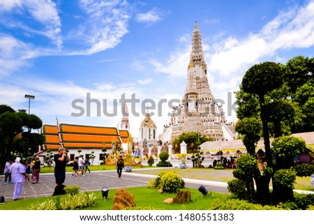 Bangkok,Thailand - July,17,2019 :Pagoda at Wat Arun temple, One of the famous temple in Thailand , This temple has many foreign visitors visiting each day, Bangkok , Thailand. #1480551383