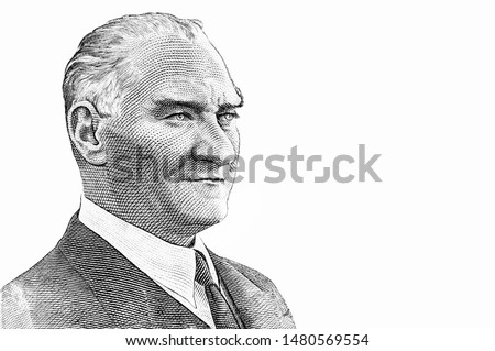 President Mustafa Kemal Ataturk Portrait from Turkey 10 Lira Banknotes. An Old paper banknote, vintage retro. Famous ancient Banknotes. Collection. #1480569554