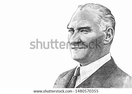 President Mustafa Kemal Ataturk Portrait from 10 Turkish lira Banknotes. An Old paper banknote, vintage retro. Famous ancient Banknotes. Collection. #1480570355