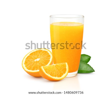 Glass of 100% Orange juice with pulp and sliced fruits isolate on white background. #1480609736