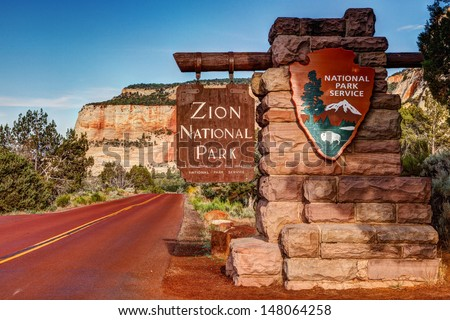 East Entrance Zion National Park Sign Utah  Royalty-Free Stock Photo #148064258