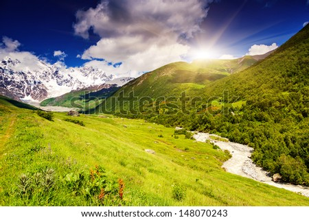 Alpine meadows at the foot of  Mt. Shkhara. Upper Svaneti, Georgia, Europe. Caucasus mountains. Beauty world. #148070243