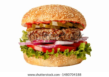 Delicious fastfood grilled fresh tasty burger isolated on white background #1480704188