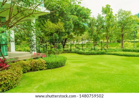 Modern house with beautiful landscaped front yard, Lawn and garden, Green lawn, Landscape formal, Front yard is beautifully designed garden., Design background. Royalty-Free Stock Photo #1480759502