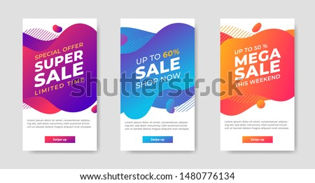 Set of Dynamic abstract shape modern fluid mobile for sale banners. banner template design, Super sale special offer. Vector illustration #1480776134