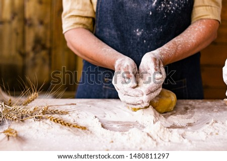 Female hands and dough. A woman is preparing a dough for home baking. Rustic style photo. Wooden table, wheat ears and flour. Free space for text #1480811297
