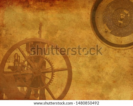 Vintage Steampunk clock background, old retro canvas paper map #1480850492