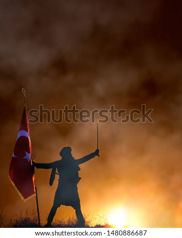 30 August Zafer Bayrami Victory Day Turkey. Translation: August 30 celebration of victory and the National Day in Turkey. (Turkish: 30 Agustos Zafer Bayrami Kutlu Olsun) Greeting card template. #1480886687