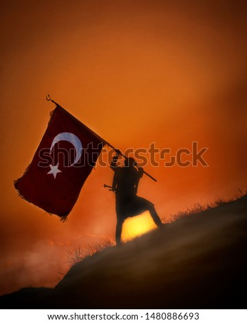 30 August Zafer Bayrami Victory Day Turkey. Translation: August 30 celebration of victory and the National Day in Turkey. (Turkish: 30 Agustos Zafer Bayrami Kutlu Olsun) Greeting card template. #1480886693