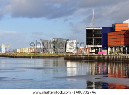 View of Titanic Belfast and River Lagan. Belfast, Northern Ireland Royalty-Free Stock Photo #1480932746